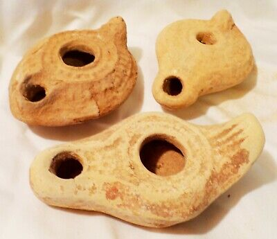 3 Small Ancient Holy Land Terracotta Pottery Votive Oil Lamps Bird