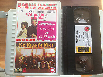Double Feature VHS - About Last Night & St Elmo's Fire