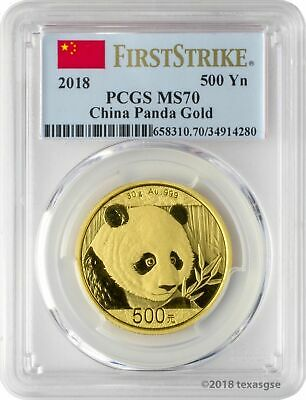 2018 500 Yuan China Gold Panda Coin 30 Gram .999 Gold PCGS MS70 FS - Flag Label
