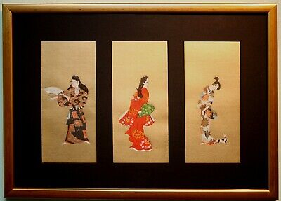 3 Original Ukiyo-e Japanese Art Paintings Woodblock Prints by Hishikawa Moronobu