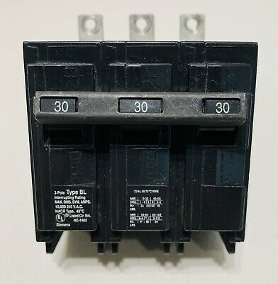 I-T-E SIEMENS TYPE BL 3 Pole 30A 240V 10kA  Circuit Breaker Bolt-On
