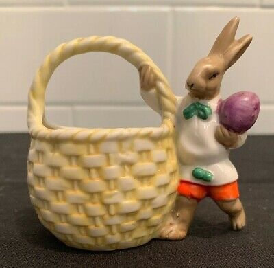 ANTIQUE GERMAN HEUBACH EASTER BUNNY & Basket CANDY CONTAINER BISQUE  FIGURINE 20s