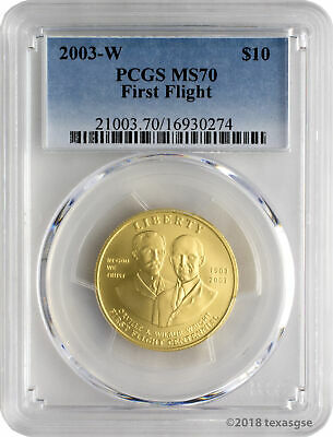 2003-W $10 First Flight Gold Commemorative Coin PCGS MS70
