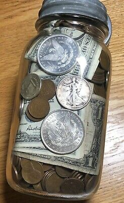 Vintage Sealed US Coin Collection Jar Silver Dollars & Currency Lot 9 LB+