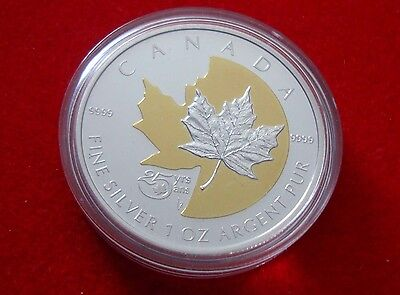 2013 Canada $5 25th Anniversary of the Silver Maple Leaf Coin Proof -Gold Plated