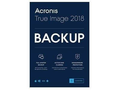 Acronis True Image 2018 Backup Software 3 Computers 2019 Upgrade