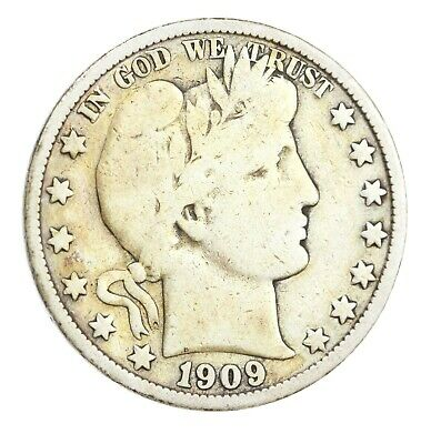 1909-O Barber Half Dollar 50C VG Very Good Silver Coin SEMI-KEY DATE! RARE! #809
