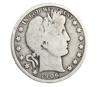 1906-D Barber Half Dollar 50C Good Silver Coin RARE! Denver Mint! #883