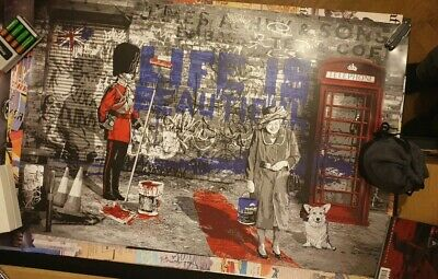New Mr Brainwash Life Beautiful Queen Corgi Authenic Lithograph Poster Banksy