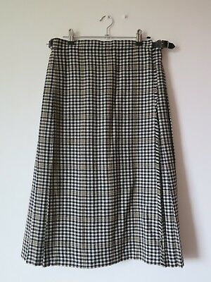 British Vintage Pure Wool Tartan Wrap Skirt With Leather Straps Size Medium
