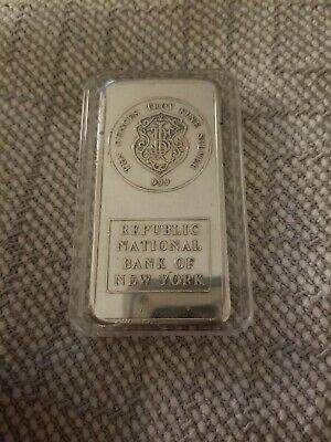 Republic National Bank of New York RNB 10 OZ SILVER Bar by JM Johnson Matthey