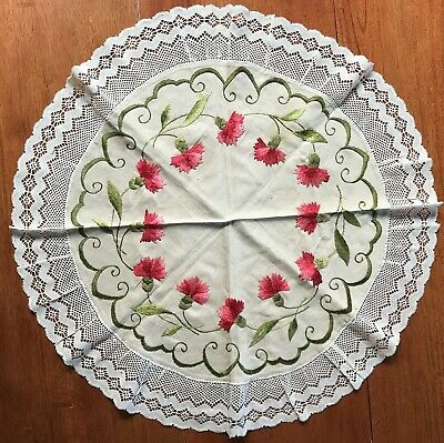 """Antique~Society SILK Work Hand Embroidered ~ RD TABLE SCARF~RED CARNATIONS - 26"""""""