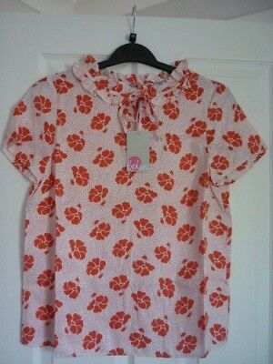 ce0b96a2c659b BODEN SADIE SILK Top Blouse Milkshake Blossom Small. Uk 12