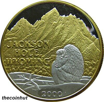 2000 Jackson Hole Wyoming 1 oz 999 Silver 24 K Gold Coin Northwest Mint CH5138