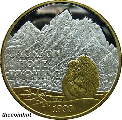 1999 Jackson Hole Wyoming 1 oz 999 Silver 24 K Gold Coin Northwest Mint CH5139