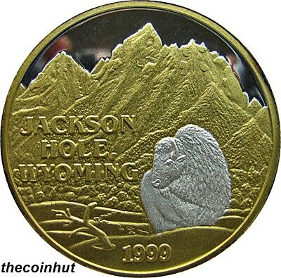 1999 1 oz. .999 Silver Jackson Hole Wyoming 24 K Gold Coin Northwest Mint CH5140