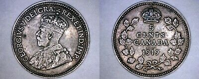 1919 Canada 5 Cent World Silver Coin - Canada - George V