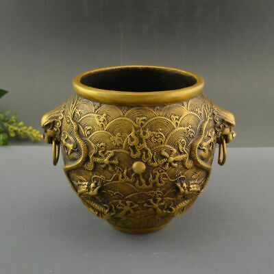 China Pure Brass God Dragon Lion Head Pot Crock Incense Burner Censer Statue