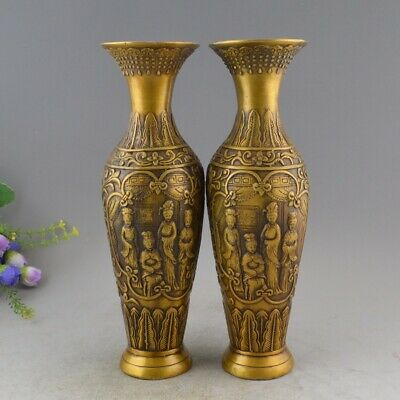 Chinese Folk Copper Bronze Four Beautiful Women Aquarius Bottle pot Vase