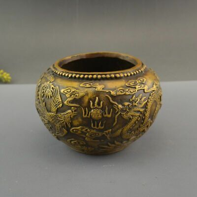 China Pure Copper Brass Dragon Phoenix Pot Crock Incense Burner Censer Statue