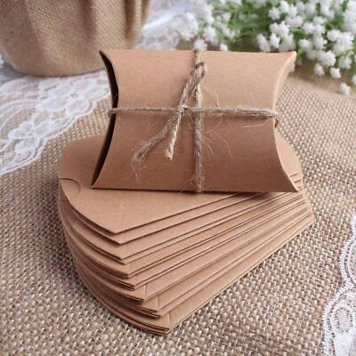 10x Wedding Candy Box Gift Boxes Paper Kraft Pillow Shape Bag Event Party Favor