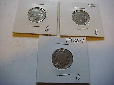 Lot of 3 Buffalo Nickels U.S five cent Coins 1936, 1935-D, 1936   #9609