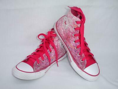3aef621ea8a7 CONVERSE Girls All Star Hi Top Shoes PINK Canvas Sneakers Chuck Taylor US 3