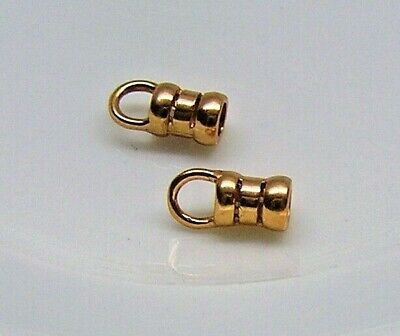 Crimp end, JBB Findings, copper-plated brass, 6x4mm tube with loop x 2