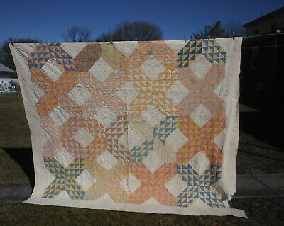 "Antique Handmade QUILT - FLYING GEESE - 90"" Sq"