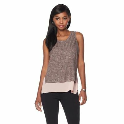 b97aebb87b0f70 SERENA WILLIAMS Size S Sleeveless Double Layer Ribbed Knit Tank Top ROSE