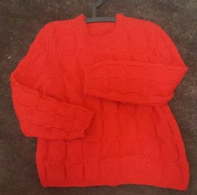 Red HAND MADE KNIT Jumper SWEATER VINTAGE CHUNKY ugly Retro Fisherman Grandpa 10