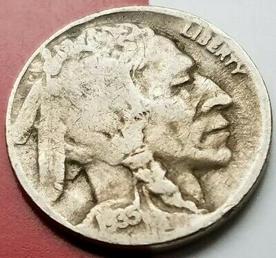 """1935 D or S not legible USA INDIAN HEAD """"BUFFALO"""" NICKEL *FREE SHIPPING*OLD COIN"""