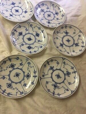 Set Of 6 Royal Copenhagen Blue Fluted Half Lace Saucers Mixed Marks