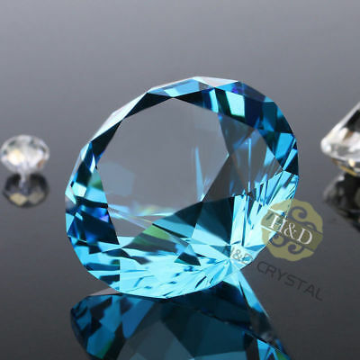 Sea Blue Crystal Glass Paperweight Faceted Cut Diamond Jewel Decor 30MM