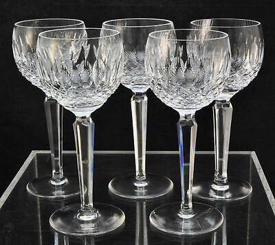 Set of 5 Waterford Cut Crystal Colleen 7 1/2 Inch Wine Hock Glasses