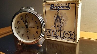 VINTAGE FRENCH BAYARD STENTOR MECHANICAL CLOCK Repeat Alarm in Orig Box