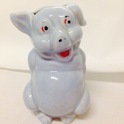 Blue Seated Pig Glazed Ceramic Figurine Piggy Bank