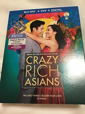 Crazy Rich Asians (Blu-ray/DVD/Digital, 2018) with Slipcover