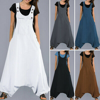 Women Dungarees Suspenders Plus Size Jumpsuit Bib Pants Loose Solid Overalls