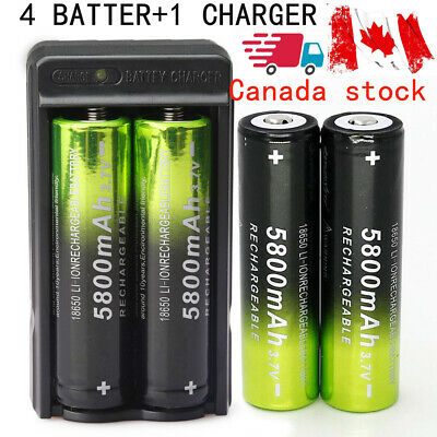 4X18650 Li-ion 3.7V Rechargeable 5800mAh Battery +1 Smart Charger for flashlight
