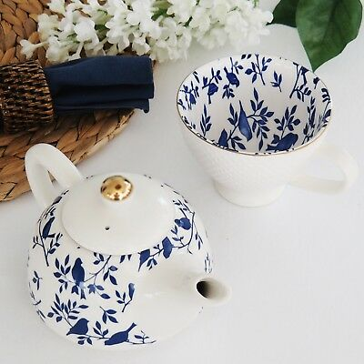 2 pce Porcelain Blue Birds Teapot w Metal Infuser & Matching Hobnail Teacup