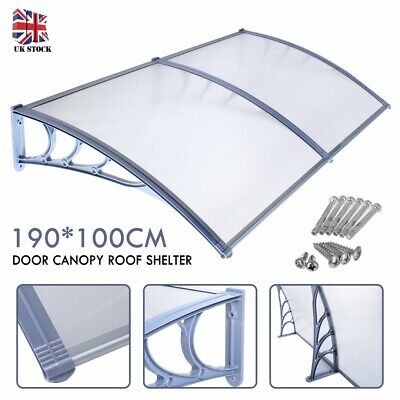 190*100cm Outdoor Door Canopy Roof Cover Awning Shelter Window Front Back Porch