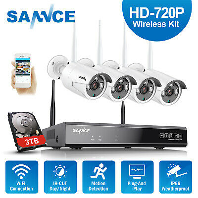SANNCE Wireless 720P 4CH Security Camera System 1080P NVR Motion Detection 3TB