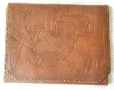 Vintage New Guinea 1944 Genuine Tooled Leather Writing Case Cute Dogs Designs