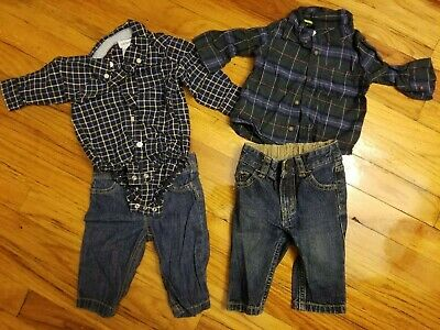 Lot Of 2 Carters Baby Boy Outfits Plaid Flannel Button Down Denim Jeans 3M