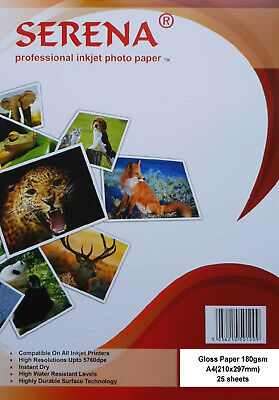 Serena Professional Inkjet Photo Paper Gloss A4 180gsm 25/50/100/200/500 Sheets