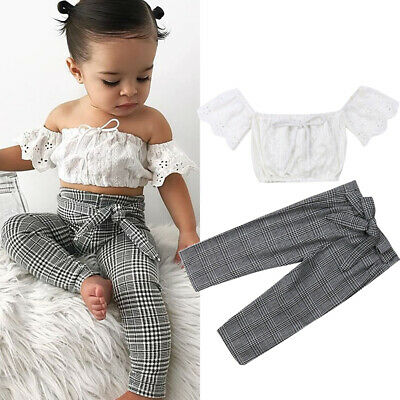 e834035186 US Toddler Kids Baby Girl Lace Off Shoulder Tops Crop Plaid Pants Outfit  Sunsuit