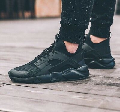 online store ccf15 2c3a9 NIKE MEN HUARACHE Run Ultra Triple Black Shoes Sz 9.5 Black ...