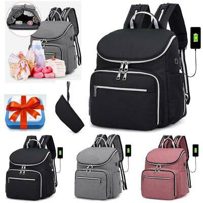Baby Large Diaper Nappy Backpack Mummy USB Changing Hospital Maternity Bag+Gift