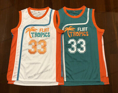 60215db7e4bc Jackie Moon  33 Flint Tropics Semi Pro Movie Basketball Jersey White Green